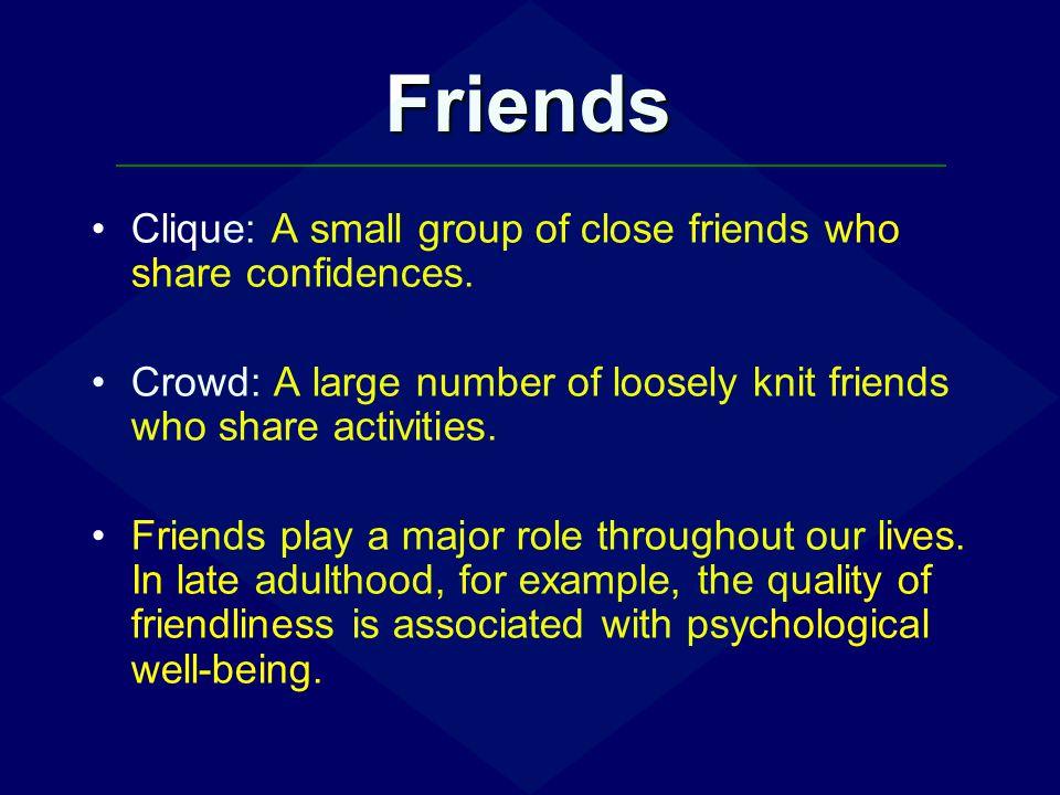 Friends Clique: A small group of close friends who share confidences.