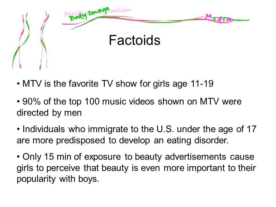 Factoids MTV is the favorite TV show for girls age 11-19