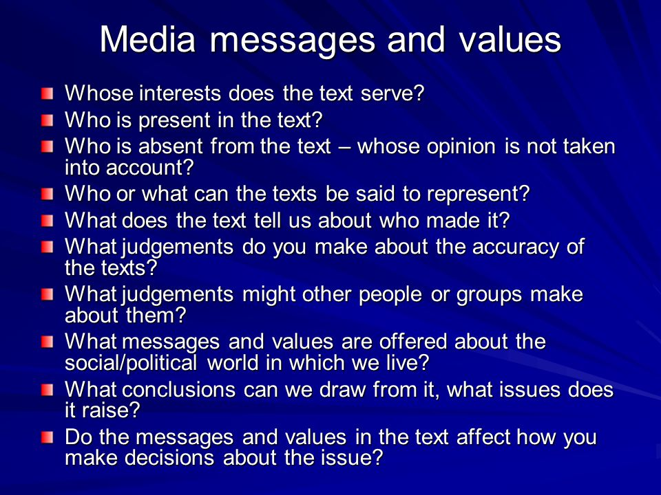 Media messages and values