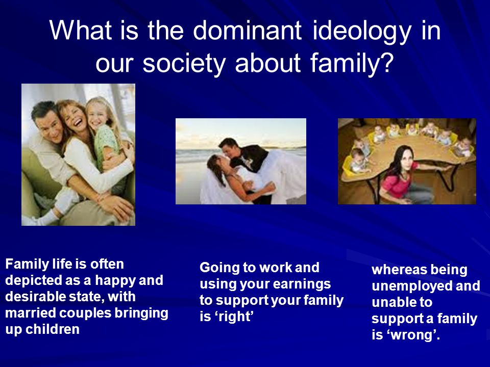What is the dominant ideology in our society about family