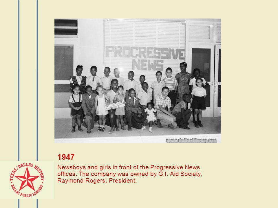1947 Newsboys and girls in front of the Progressive News offices.