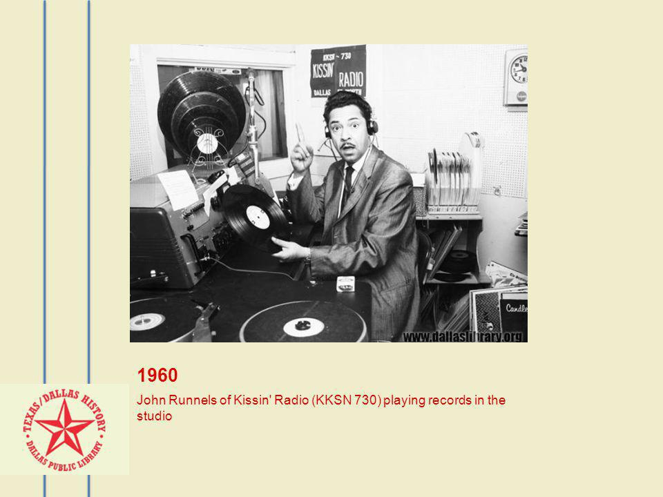 1960 John Runnels of Kissin Radio (KKSN 730) playing records in the studio