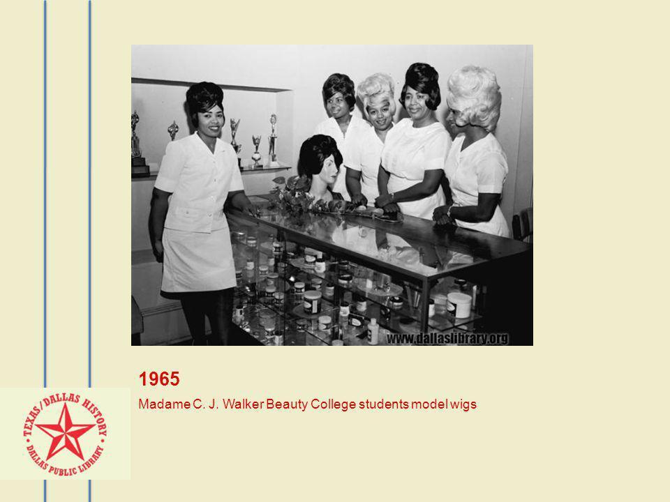 1965 Madame C. J. Walker Beauty College students model wigs