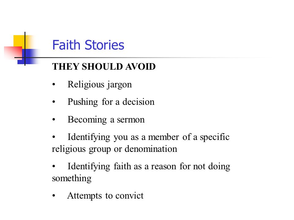 Faith Stories THEY SHOULD AVOID Religious jargon