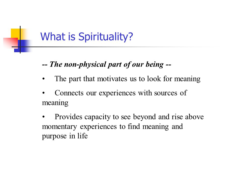 What is Spirituality -- The non-physical part of our being --