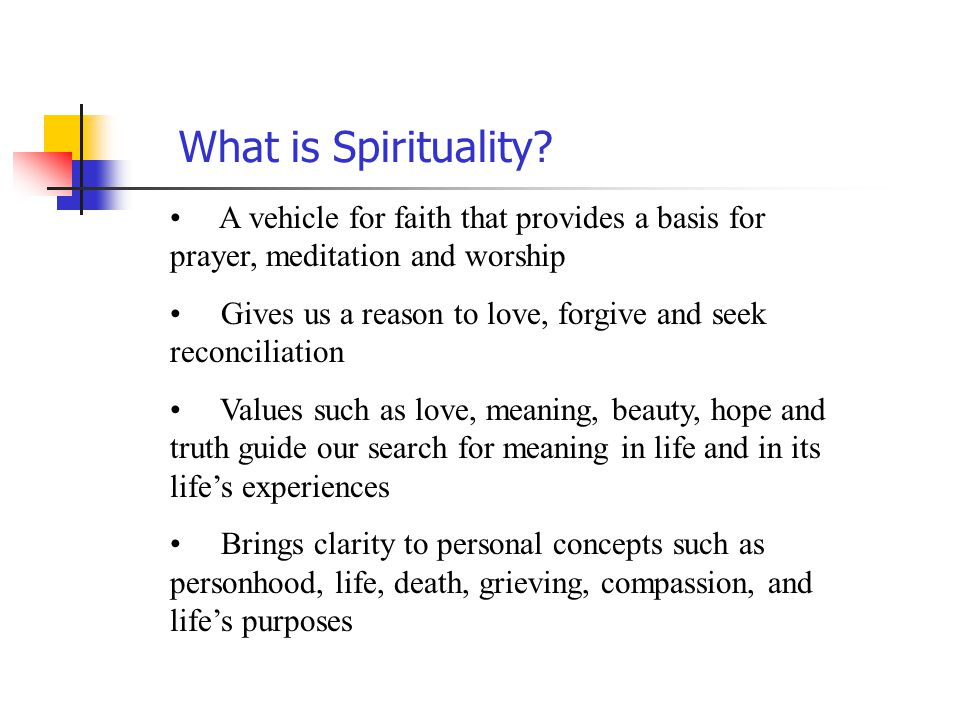What is Spirituality A vehicle for faith that provides a basis for prayer, meditation and worship.