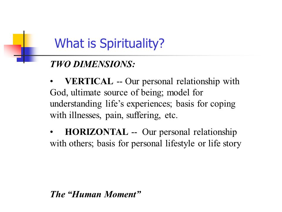 What is Spirituality TWO DIMENSIONS: