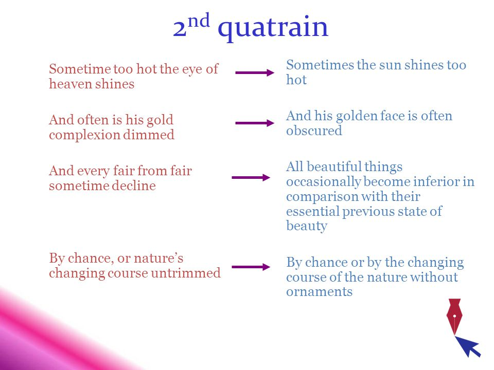 2nd quatrain Sometimes the sun shines too hot