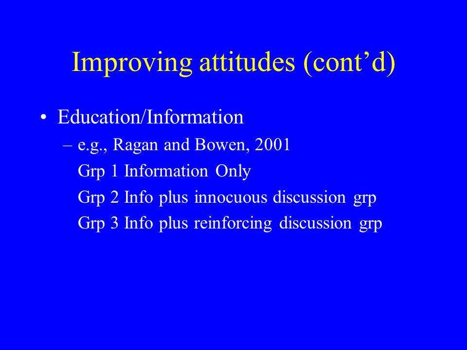 Improving attitudes (cont'd)