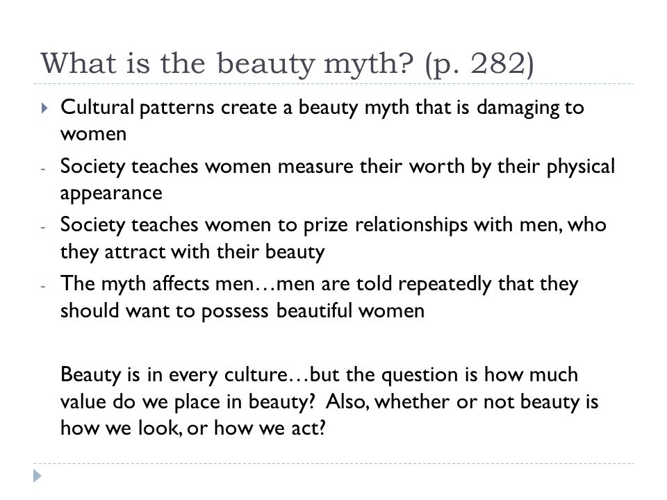 What is the beauty myth (p. 282)