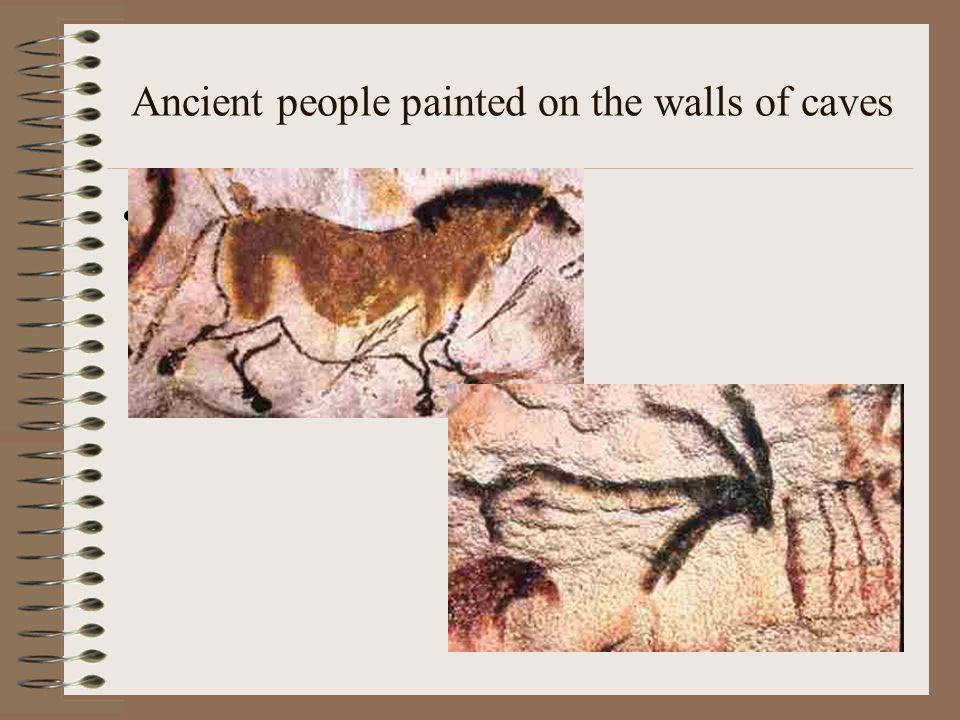 Ancient people painted on the walls of caves