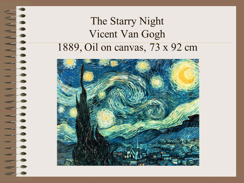 The Starry Night Vicent Van Gogh 1889, Oil on canvas, 73 x 92 cm