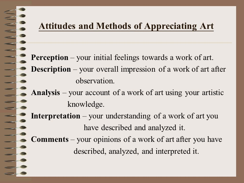 Attitudes and Methods of Appreciating Art