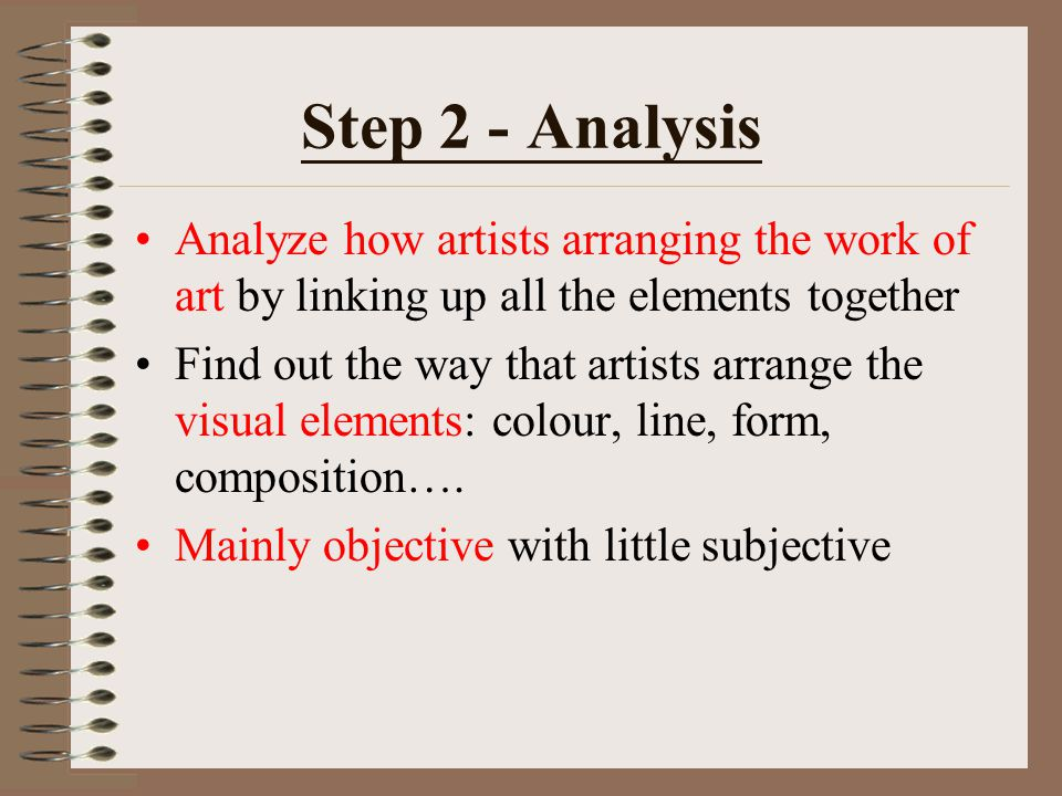 Step 2 - Analysis Analyze how artists arranging the work of art by linking up all the elements together.