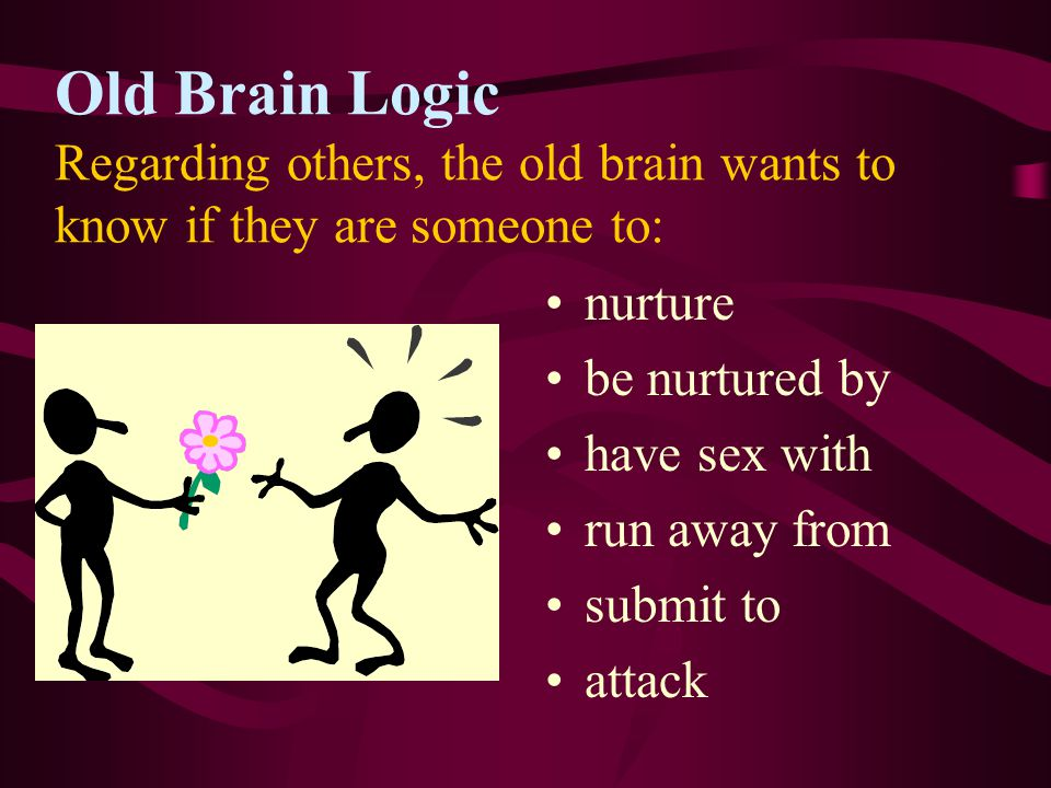 Old Brain Logic Regarding others, the old brain wants to know if they are someone to: