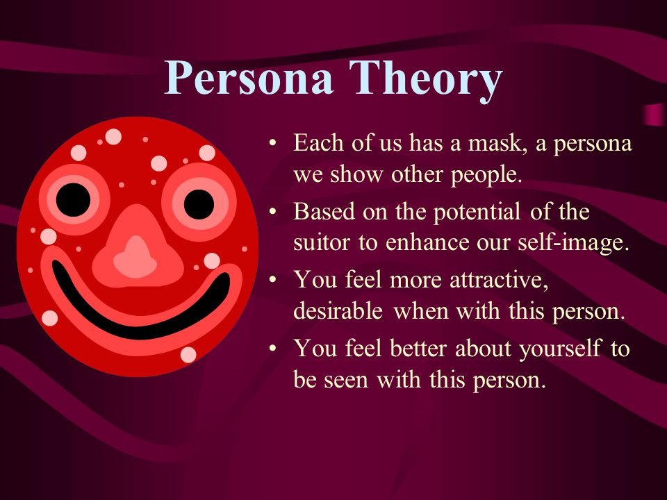 Persona Theory Each of us has a mask, a persona we show other people.