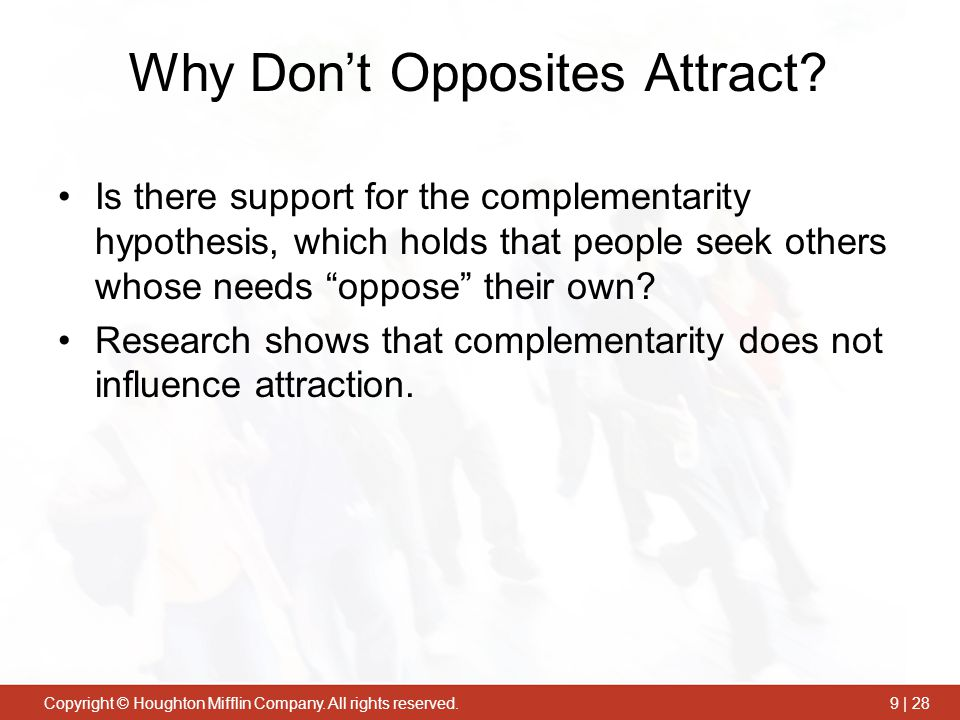 Why Don't Opposites Attract