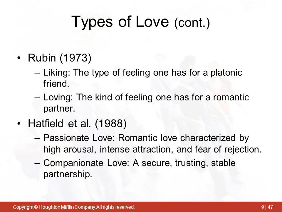 Types of Love (cont.) Rubin (1973) Hatfield et al. (1988)