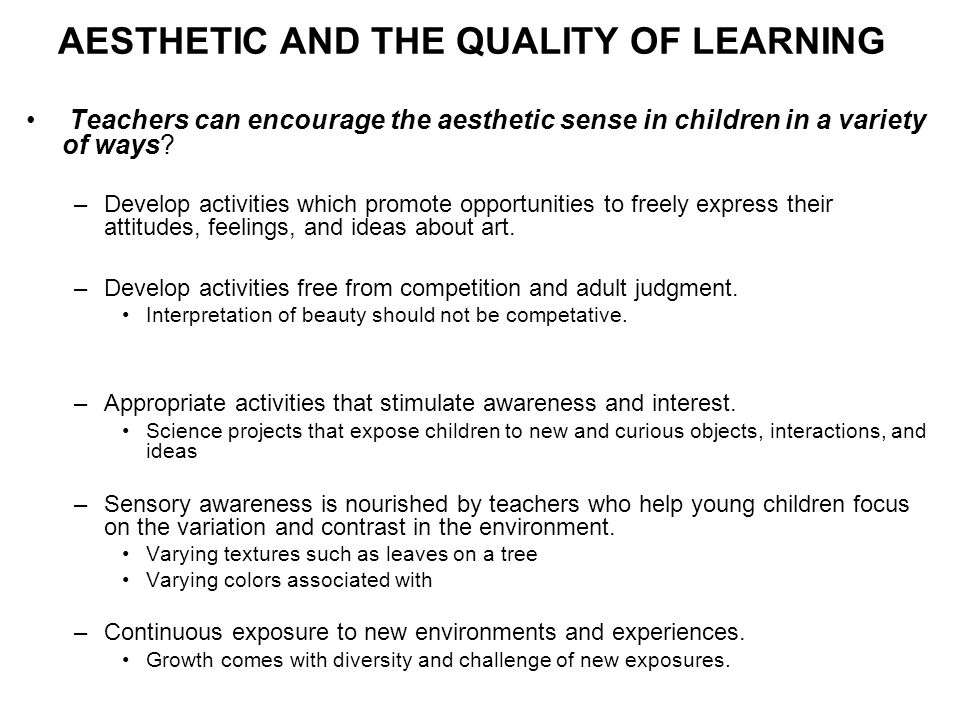 AESTHETIC AND THE QUALITY OF LEARNING