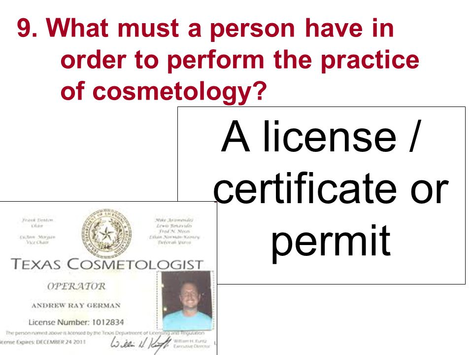 A license / certificate or permit