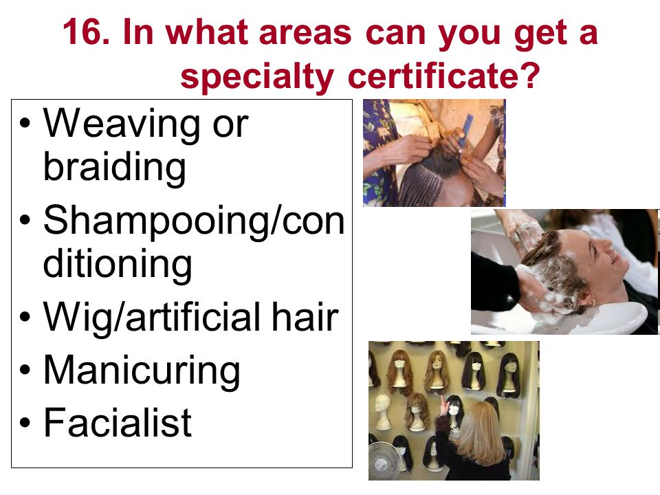 16. In what areas can you get a specialty certificate