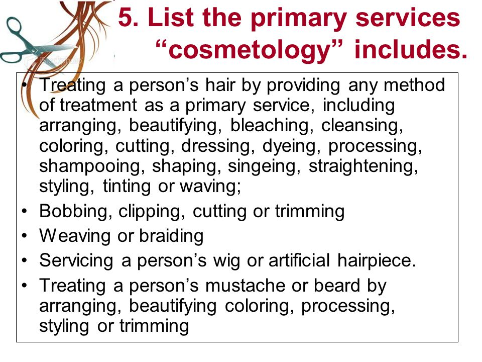 5. List the primary services cosmetology includes.