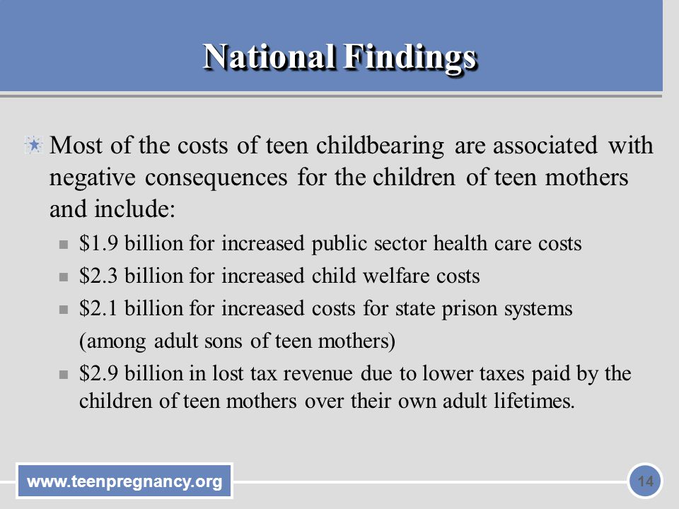 National Findings Most of the costs of teen childbearing are associated with negative consequences for the children of teen mothers and include: