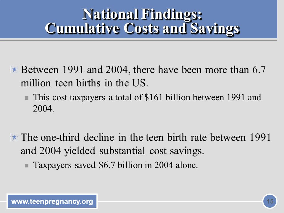 National Findings: Cumulative Costs and Savings