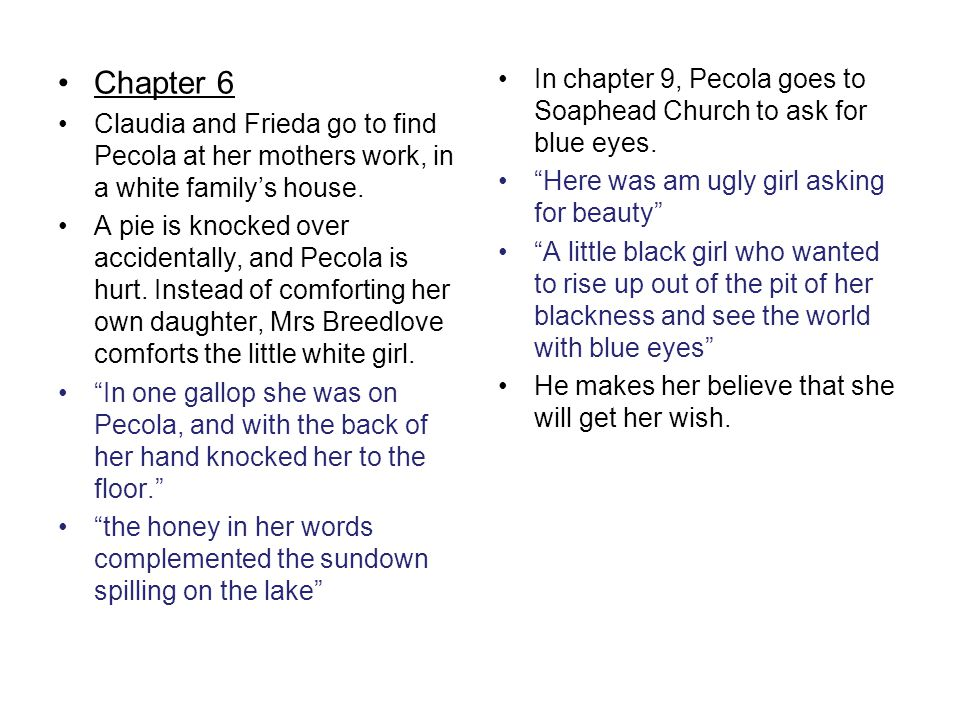 Chapter 6 Claudia and Frieda go to find Pecola at her mothers work, in a white family's house.