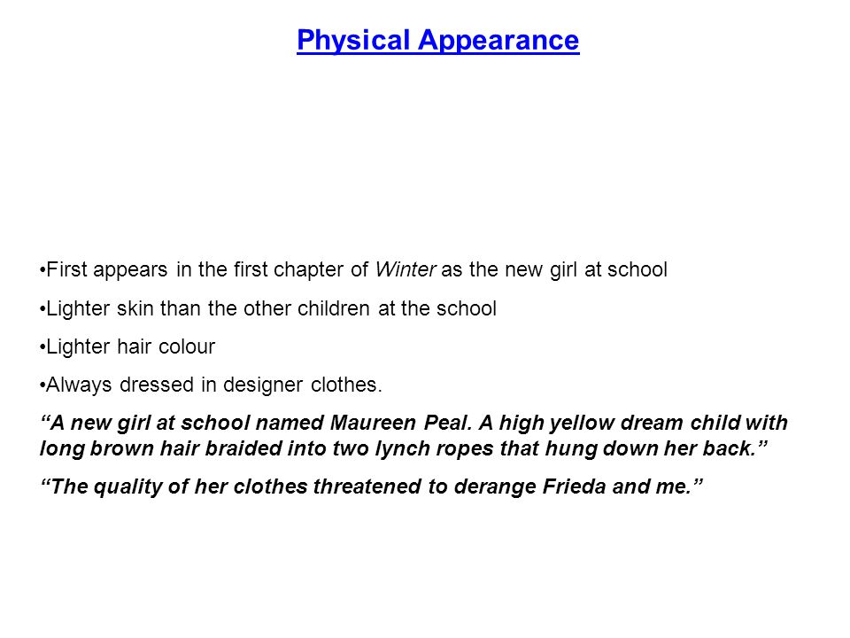 Physical Appearance First appears in the first chapter of Winter as the new girl at school. Lighter skin than the other children at the school.