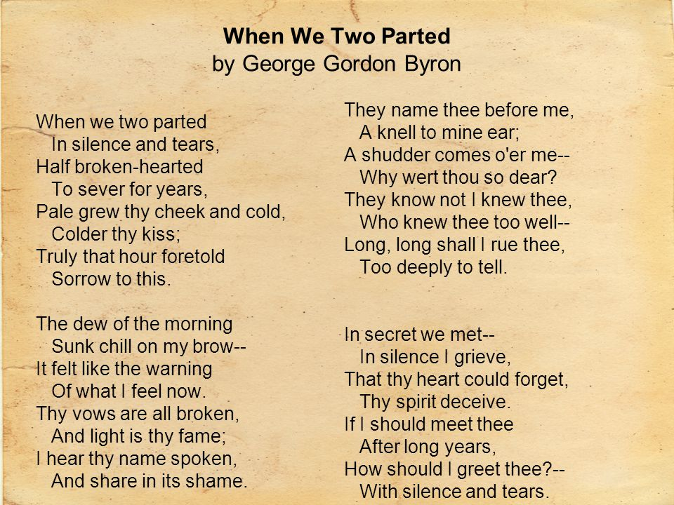 When We Two Parted by George Gordon Byron