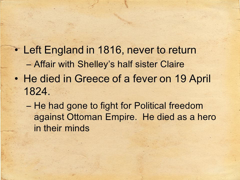 Left England in 1816, never to return