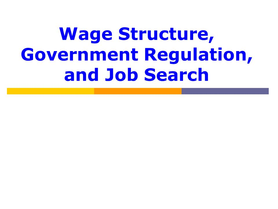 Wage Structure, Government Regulation, and Job Search