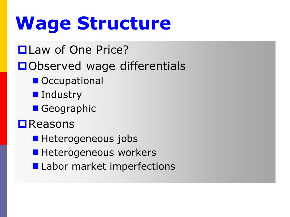 Wage Structure Law of One Price Observed wage differentials Reasons
