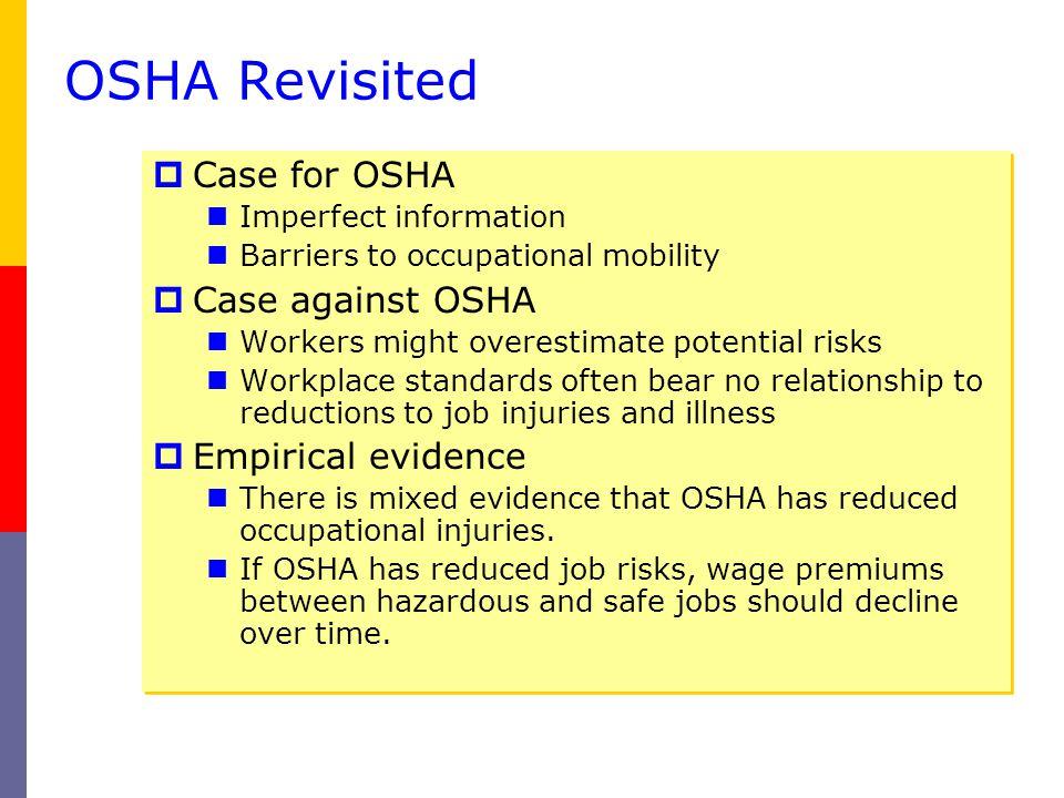 OSHA Revisited Case for OSHA Case against OSHA Empirical evidence
