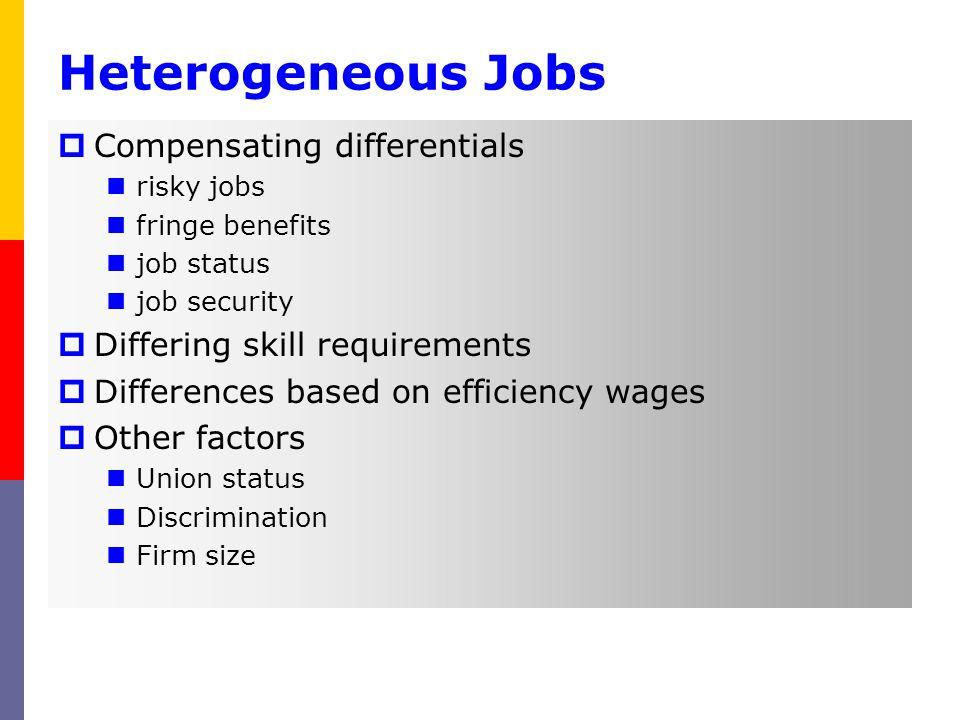 Heterogeneous Jobs Compensating differentials