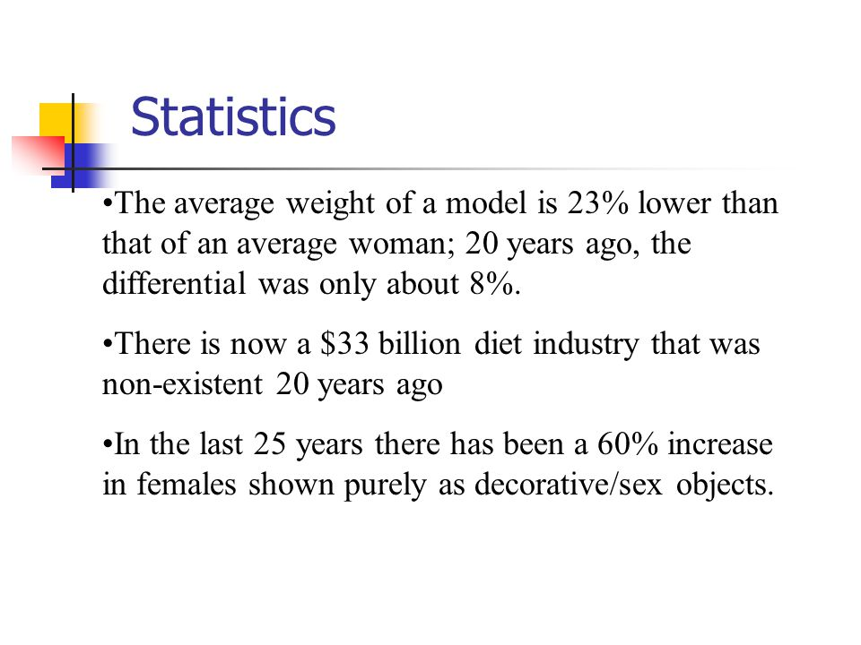 Statistics The average weight of a model is 23% lower than that of an average woman; 20 years ago, the differential was only about 8%.