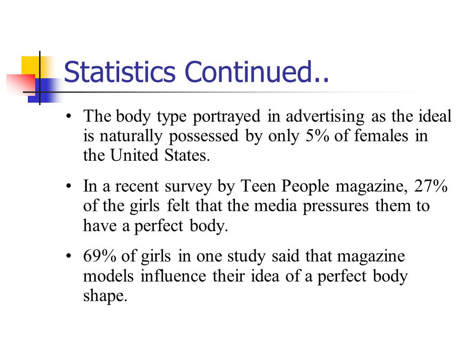 Statistics Continued.. The body type portrayed in advertising as the ideal is naturally possessed by only 5% of females in the United States.