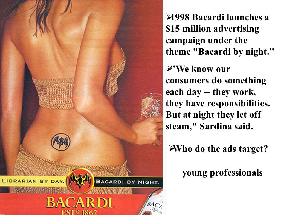 1998 Bacardi launches a $15 million advertising campaign under the theme Bacardi by night.