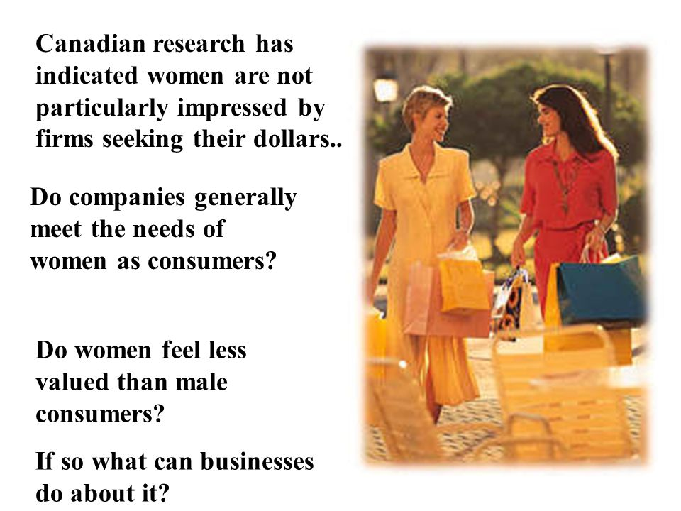 Canadian research has indicated women are not particularly impressed by firms seeking their dollars..