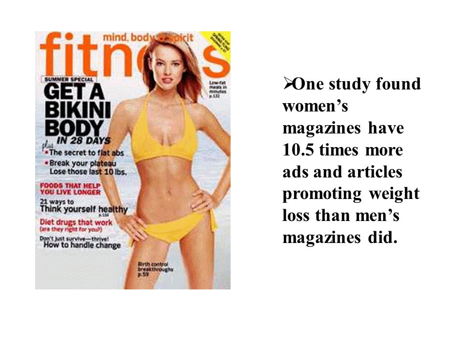 One study found women's magazines have 10