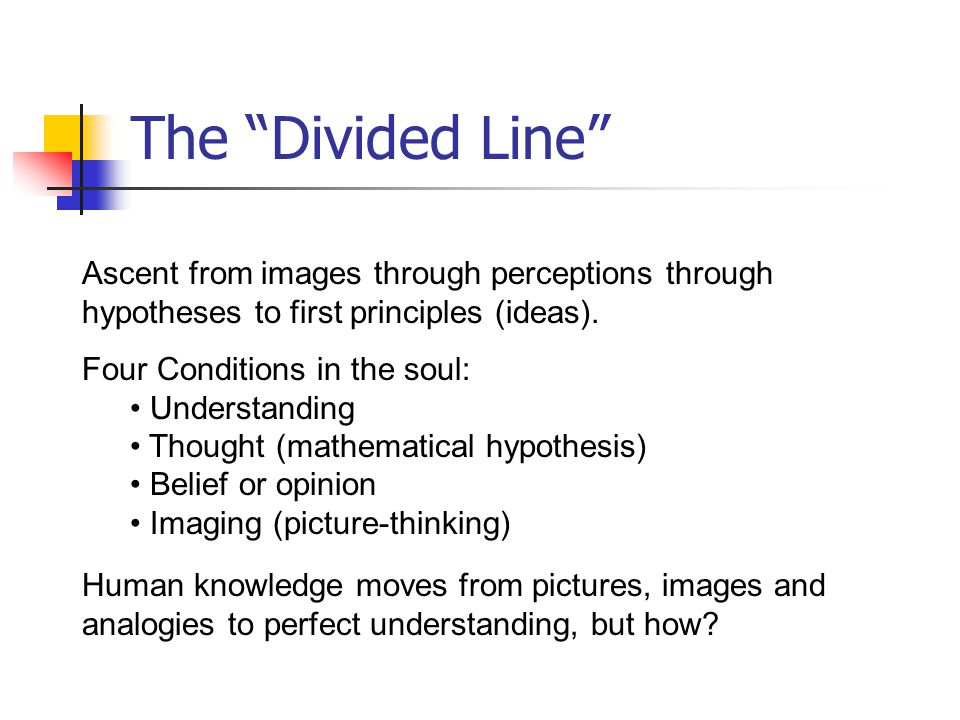 The Divided Line Ascent from images through perceptions through hypotheses to first principles (ideas).