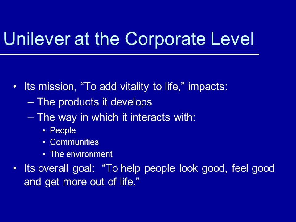Unilever at the Corporate Level