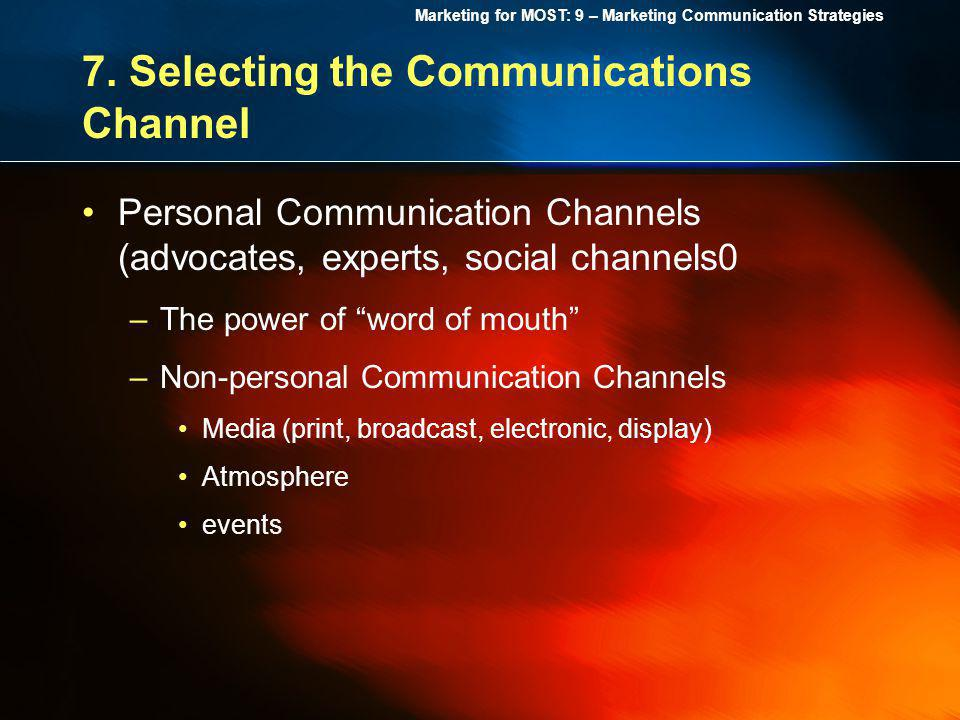 7. Selecting the Communications Channel