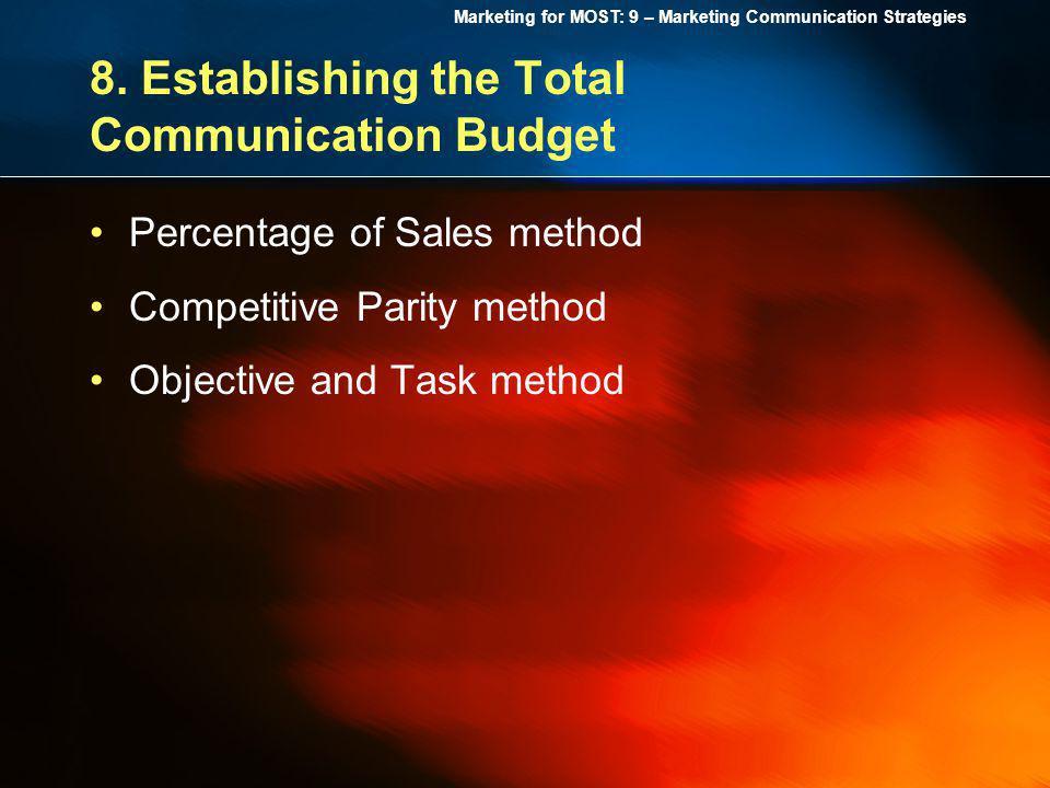 8. Establishing the Total Communication Budget