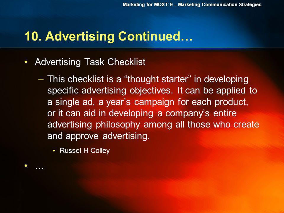10. Advertising Continued…