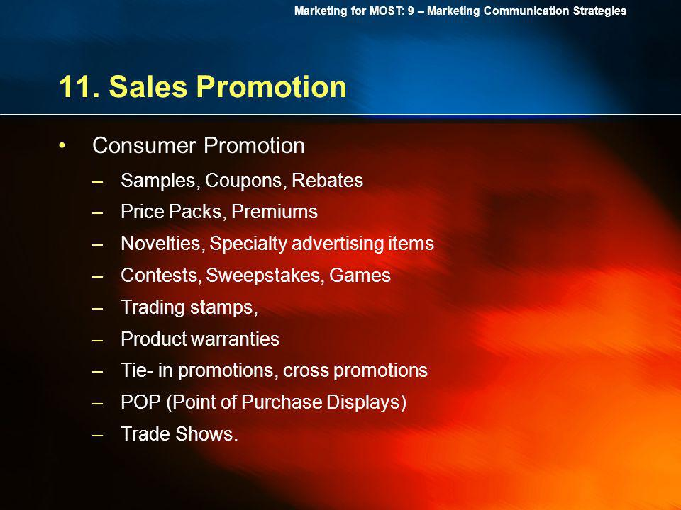 11. Sales Promotion Consumer Promotion Samples, Coupons, Rebates