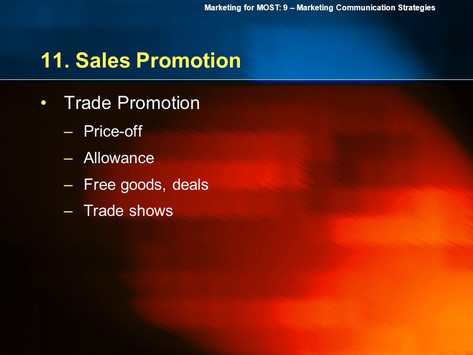 11. Sales Promotion Trade Promotion Price-off Allowance