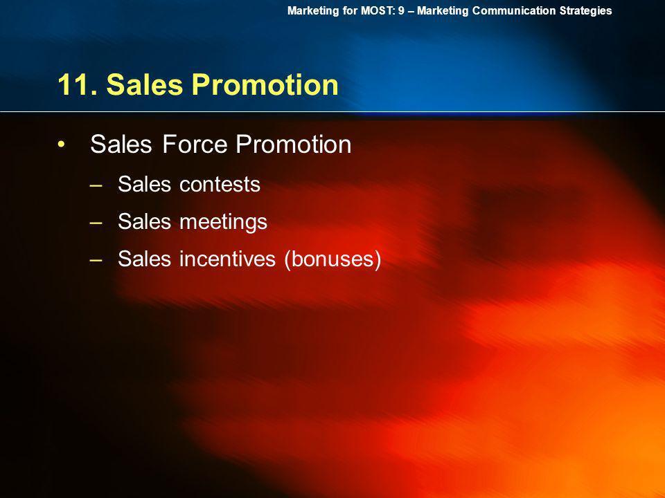 11. Sales Promotion Sales Force Promotion Sales contests