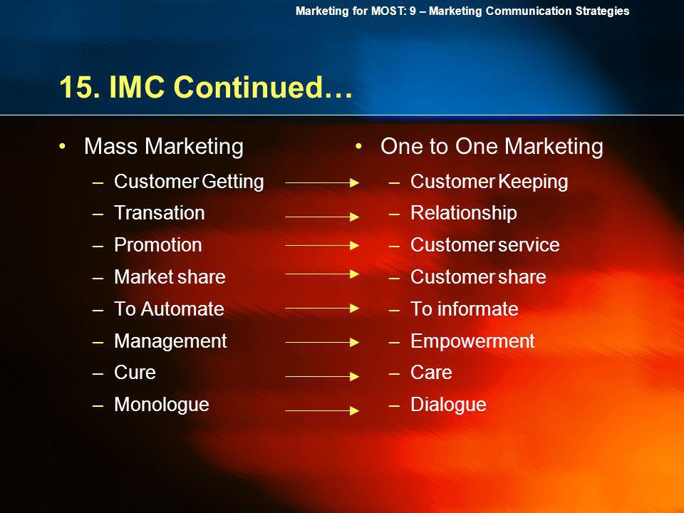 15. IMC Continued… Mass Marketing One to One Marketing